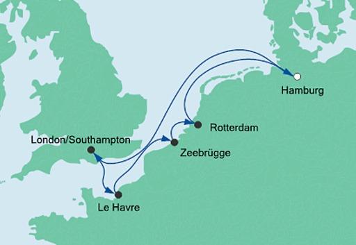 mapa rejsu Europa Północna statkiem AIDAperla