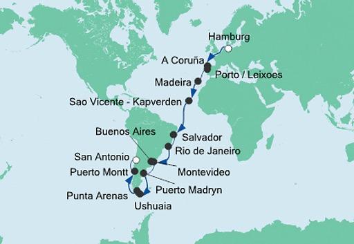 mapa AIDAaura rejs z Hamburga do San Antonio