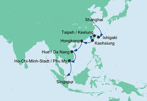 mapa AIDAbella rejs z Szanghaju do Dubaju
