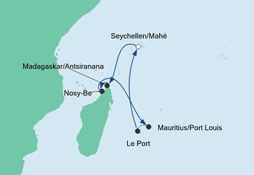 mapa AIDAblu rejs Mauritius, Szeszele i Madagaskar 1