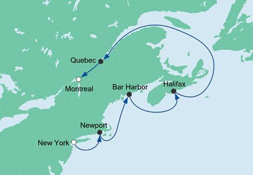 mapa AIDAdiva rejs z Nowego Jorku do Montrealu