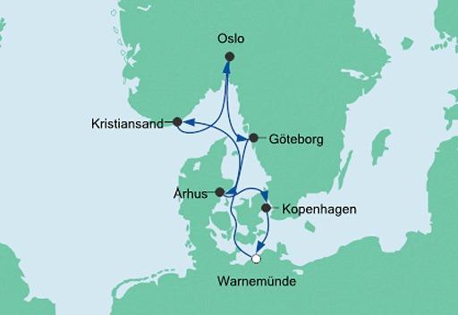 mapa AIDAdiva rejs Skandynawskie Miasta 1