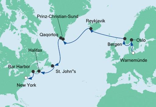 mapa AIDAdiva rejs z Warnemunde do Nowego Jorku