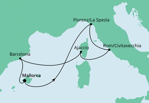 mapa AIDAnova rejs Śródziemnomorskie Krajobrazy z Majorki
