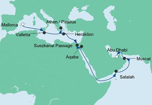 mapa AIDAprima rejs z Majorki do Abu Zabi