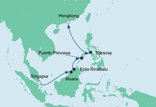mapa AIDAvita rejs Brunei, Filipiny i Hongkong