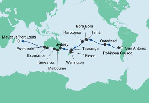 mapa AIDAaura rejs z Chile na Mauritius