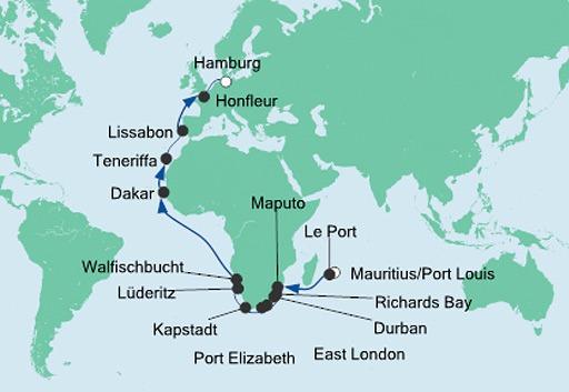 mapa AIDAura rejs z Mauritiusu do Hamburga