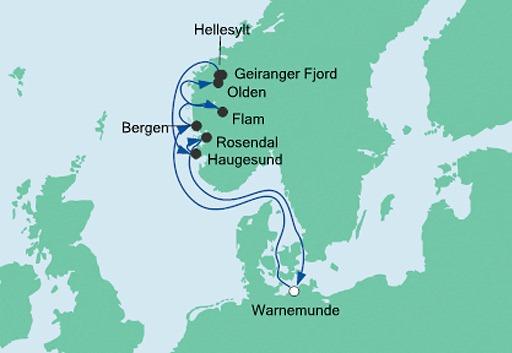 mapa AIDAaura rejs Norweskie Fiordy 5