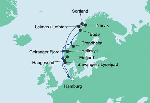 mapa AIDAaura rejs Norweskie Fiordy i Lofoty