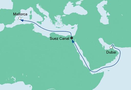 mapa AIDAbella rejs z Dubaju na Majorkę