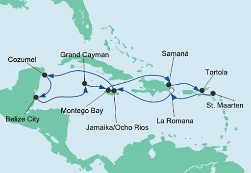 mapa AIDAdiva rejs Karaiby i Meksyk