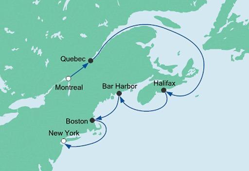 mapa AIDAdiva rejs z Montrealu do Nowego Jorku