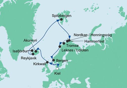 mapa AIDAluna rejs Islandia i Przylądek Północny 2