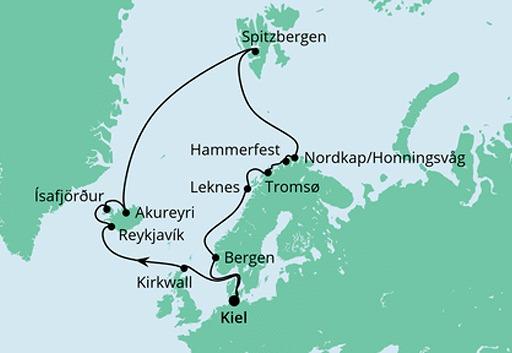 mapa AIDAluna rejs Islandia i Przylądek Północny