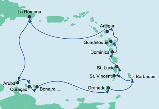 mapa AIDAperla rejs Wyspy Karaibskie