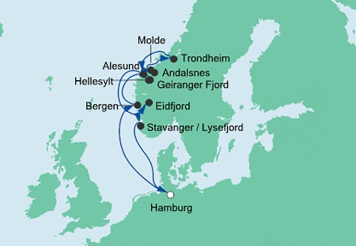 mapa AIDAsol, rejs Fiordy Norwegii