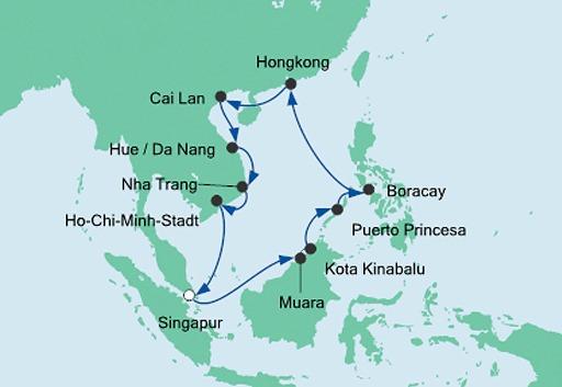 mapa AIDAvita rejs Filipiny, Hongkong i Wietnami
