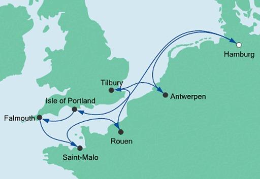 mapa AIDAvita rejs Francja, Belgia i Anglia