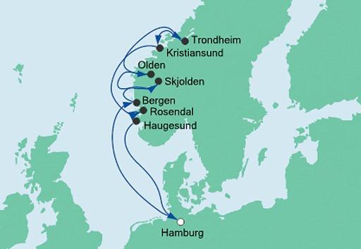 mapa AIDAvita rejs Norweskie Fiordy