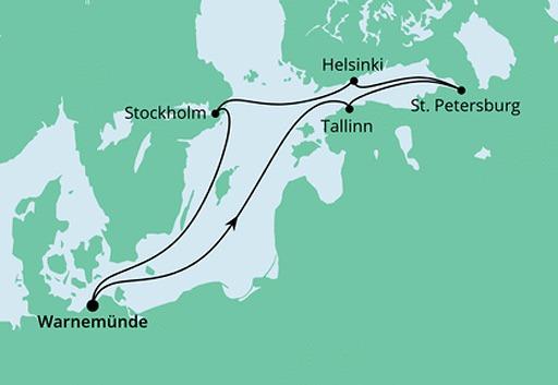 mapa AIDAdiva Morze Bałtyckie z Warnemunde