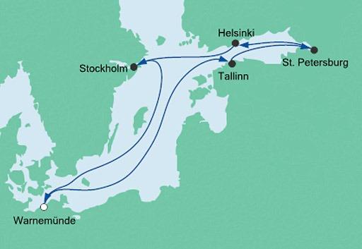 mapa AIDAdiva rejs Morze Bałtyckie z Warnemunde