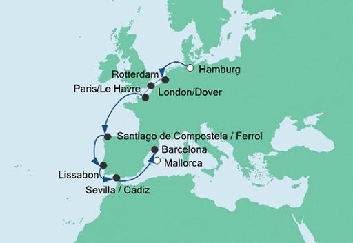 mapa AIDAmar rejs z Hamburga na Majorkę