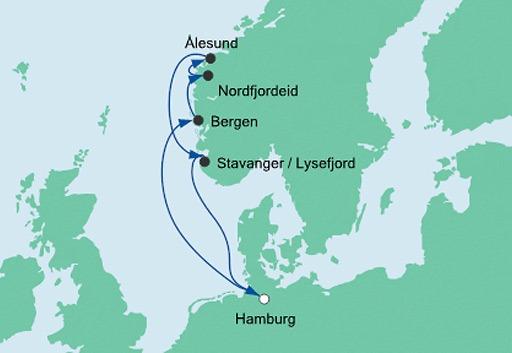 mapa AIDAperla rejs Wybrzeża Norwegii