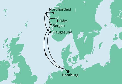 mapa AIDAperla rejs Wybrzeże Norwegii