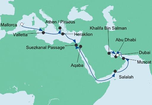 mapka AIDAprima rejs z Majorki do Dubaju