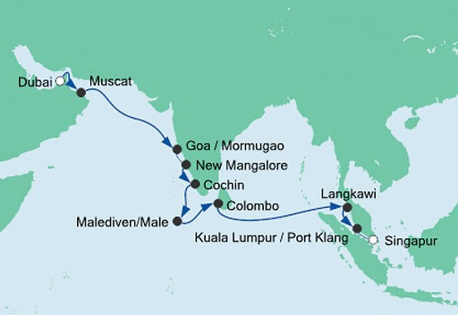 mapa AIDAvita z Dubaju do Singapuru