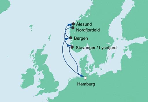 Mapa AIDAperla rejs Metropolie i Norwegia