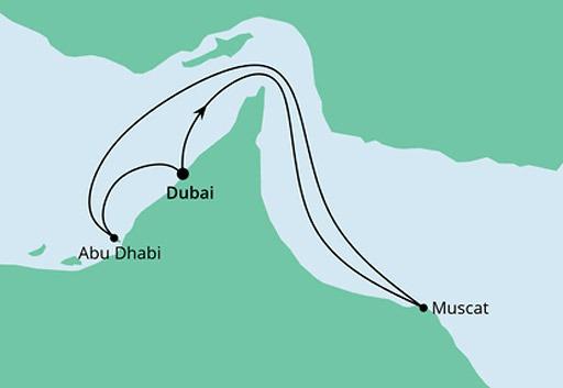 mapa AIDAprima rejs Arabskie Noce z Dubaju