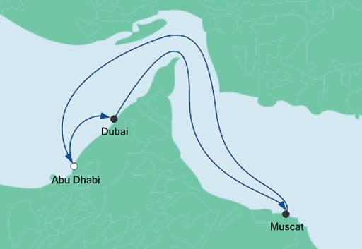 mapa AIDAprima rejs Sylwester w Emiratach Arabskich