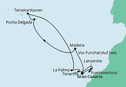 mapa AIDAcara rejs Azory i Wyspy Kanaryjskie