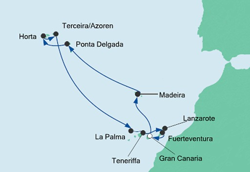 mapa AIDAcara rejs sylwestrowy Azory i Wyspy Kanaryjskie