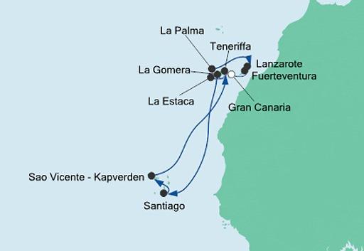 mapa AIDAcara rejs Wyspy Kanaryjskie i Zielony Przylądek