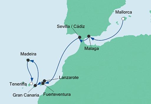Mapa AIDAnova rejs z Majorki na Teneryfę