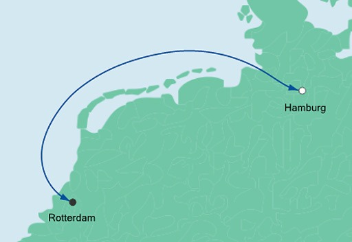 mapa AIDAperla mini rejs Hamburg i Rotterdam