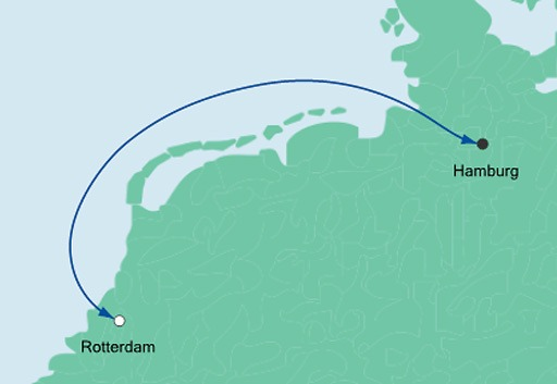 mapa AIDAperla mini rejs Rotterdam i Hamburg