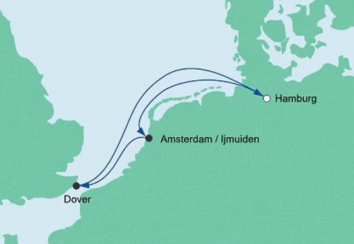 mapa AIDAsol rejs Holandia i Wielka Brytania