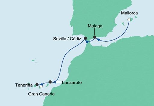 mapa AIDAstella rejs z Majorki na Gran Canarię