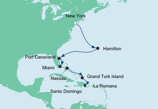 Mapa rejsu AIDAdiva z Nowego Jorku na Karaiby
