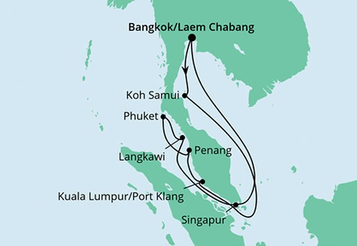 mapa AIDAbella Tajlandia, Malezja i Singapur