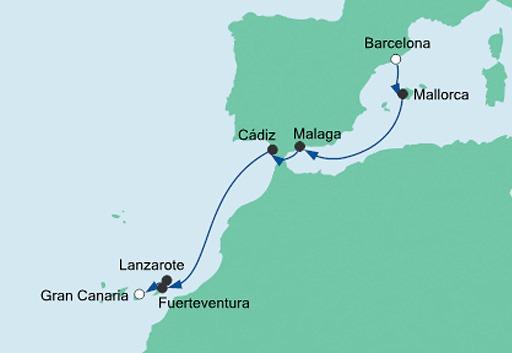 mapa AIDAnova z Barcelony na Gran Canarię