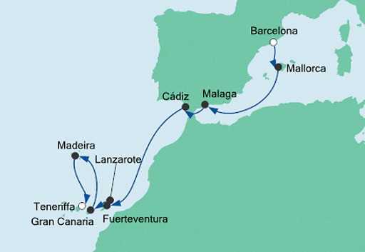 mapa AIDAnova z Barcelony na Teneryfę