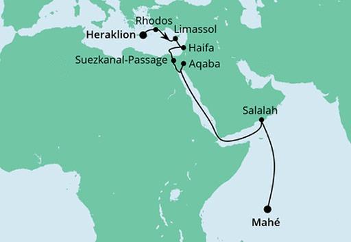mapa AIDAblu rejs z Krety na Seszele