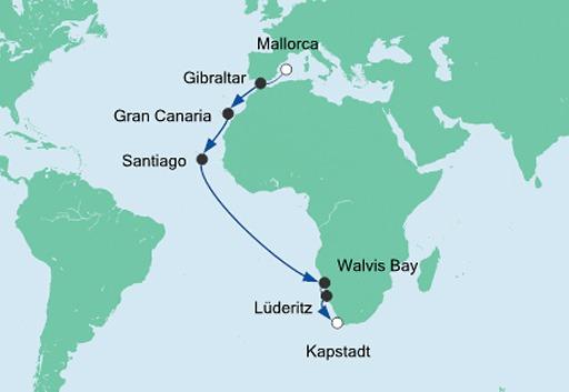 mapa AIDAmira rejs z Majorki do Kapsztadu