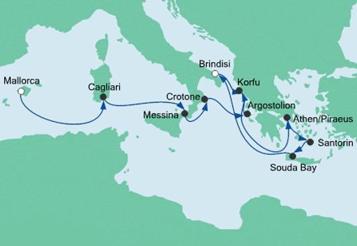Mapa rejsu z Majorki na Kretę statkiem AIDAmira