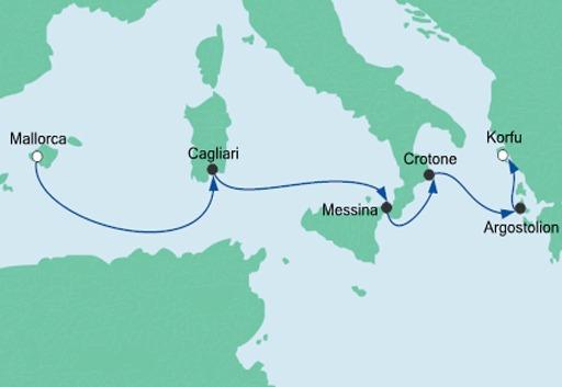 Mapka AIDAmira rejs Z Majorki na Kretę 2